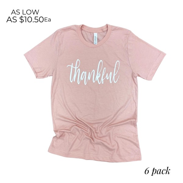 Thankful Graphic Tee.  - Printed on a Bella Canvas Brand Tee - Color: Peach - 6 Shirts Per Pack - Sizes: 1:S 2:M 2:L 1:XL - 52% Cotton / 48% Polyester