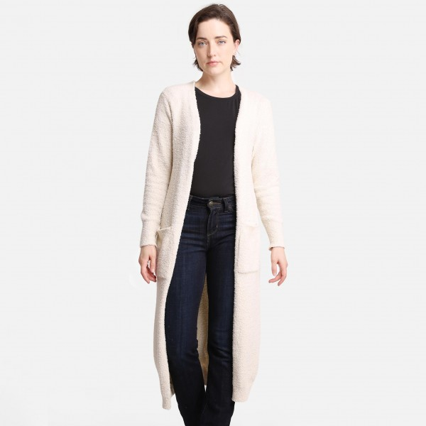 ComfyLUXE Solid Color Full Length Cardigan  -One Size Fits Most 0-14 -100% Polyester