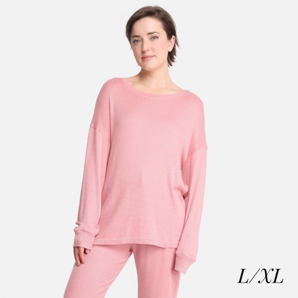 Comfy Luxe Soft Knit Lounge Top  - Size L/XL: US Women's Size 10-14 - Relaxed Fit - 47% Rayon / 24% Polyester / 24% Nylon / 5% Spandex