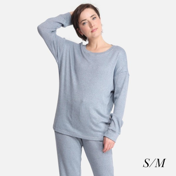Comfy Luxe Soft Knit Lounge Top  - Size S/M: US Women's Size 2-8 - Relaxed Fit - 47% Rayon / 24% Polyester / 24% Nylon / 5% Spandex