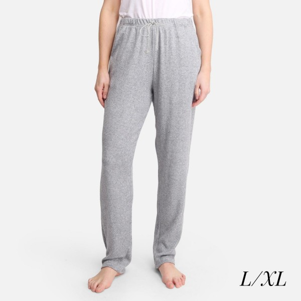 """Comfy Luxe Soft Knit Lounge Pants  - Size L/XL: US Women's Size 10-14 - Elastic Drawstring Waist Band - 30"""" Inseam - 47% Rayon / 24% Polyester / 24% Nylon / 5% Spandex"""
