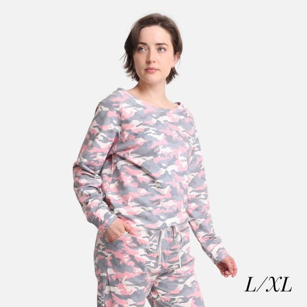 Comfy Luxe Camo Print Lightweight Lounge Top  - Size L/XL: US Women's Size 10-14 - Relaxed Fit - 98% Polyester / 2% Spandex