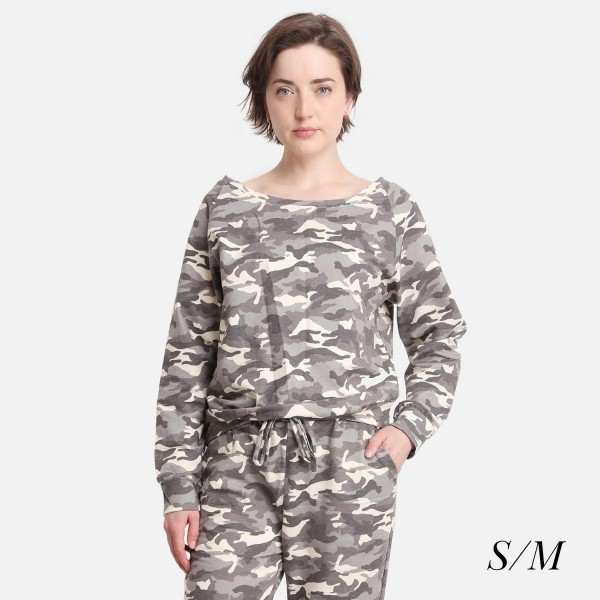 Comfy Luxe Camo Print Lightweight Lounge Top  - Size S/M: US Women's Size 2-8 - Relaxed Fit - 98% Polyester / 2% Spandex