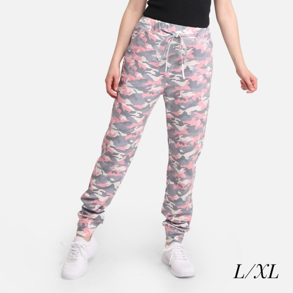 """Comfy Luxe Camo Print Lightweight Lounge Pants  - Size L/XL: US Women's Size 10-14 - Elastic Drawstring Waist Band - Pockets - 31"""" Inseam - 98% Polyester / 2% Spandex"""