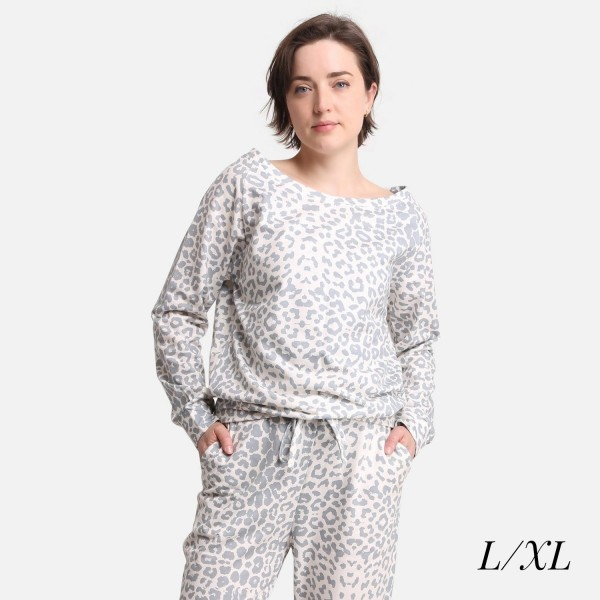 Comfy Luxe Animal Print Lightweight Lounge Top  - Size L/XL: US Women's Size 10-14 - Relaxed Fit - 98% Polyester / 2% Spandex