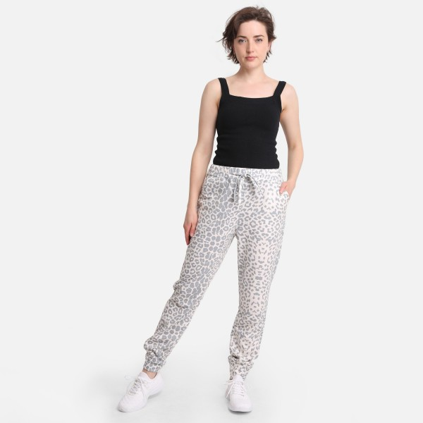 """Comfy Luxe Animal Print Lightweight Lounge Pants  - Size S/M: US Women's Size 2-8 - Elastic Drawstring Waist Band - 29"""" Inseam - 98% Polyester / 2% Spandex"""