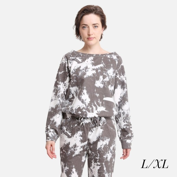 Comfy Luxe Acid Wash Lightweight Lounge Top  - Size L/XL: US Women's Size 10-14 - Relaxed Fit - 98% Polyester / 2% Spandex
