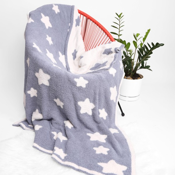 """Super Soft Star Comfy Luxe Knit Blanket. The Softest Throw Blanket Made of the Highest Quality Material. So Soft You Have to Feel Them for Yourself. This Luxurious Throw is a Guaranteed Best Seller this Season!   - Approximately 50"""" W x 60"""" L -100% Polyester  - Extra Plush and Cozy"""
