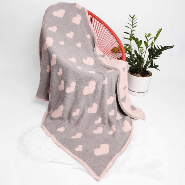 """Super Soft Heart Print Comfy Luxe Knit Blanket. The Softest Throw Blanket Made of the Highest Quality Material. So Soft You Have to Feel Them for Yourself. This Luxurious Throw is a Guaranteed Best Seller this Season!   - Approximately 50"""" W x 60"""" L -100% Polyester  - Extra Plush and Cozy"""