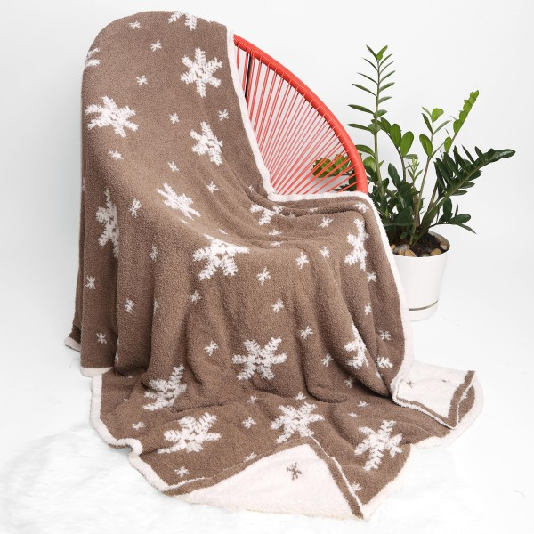 """Super Soft Snowflake Print Comfy Luxe Knit Blanket. The Softest Throw Blanket Made of the Highest Quality Material. So Soft You Have to Feel Them for Yourself. This Luxurious Throw is a Guaranteed Best Seller this Season!   - Approximately 50"""" W x 60"""" L -100% Polyester  - Extra Plush and Cozy"""