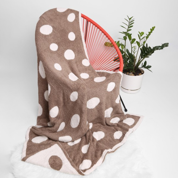 """Super Soft Polka Dot Comfy Luxe Knit Blanket. The Softest Throw Blanket Made of the Highest Quality Material. So Soft You Have to Feel Them for Yourself. This Luxurious Throw is a Guaranteed Best Seller this Season!   - Approximately 50"""" W x 60"""" L -100% Polyester  - Extra Plush and Cozy"""