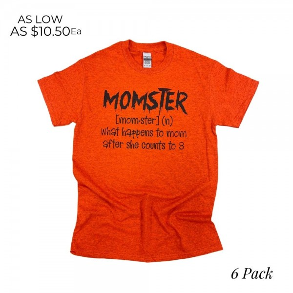 Momster Graphic Tee  -Printed on a Gildan Heavy Cotton Brand Tee - 6 Shirts Per Pack - Sizes: 1:S 2:M 2:L 1:XL -90% Cotton/ 10% Polyester