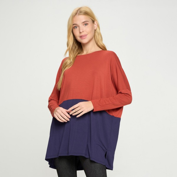 Women's Duo Split Color Dolman Sleeve Top  • Side slit • Long Dolman Sleeve • Effortlessly chic • Crew Neckline • Oversized fit • Soft and comfortable fabric • Pullover styling • 95% Rayon 5% Spandex   Pack Breakdown: 6pcs/pack 2S:2M:2L