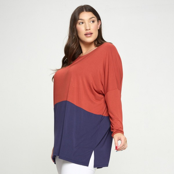 Women's Plus Size Duo Split Color Dolman Sleeve Top  • Side slit • Long Dolman Sleeve • Effortlessly chic • Crew Neckline • Oversized fit • Soft and comfortable fabric • Pullover styling • 95% Rayon, 5% Spandex  • Plus Size  Pack Breakdown: 6pcs/pack. 2XL:2XXL:2XXXL