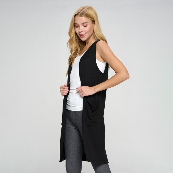 """Women's Knit Vest Featuring Two Pockets (6 Pack)    - Knee length - Relaxed fit - Open front - Casual wear - Front pockets - 80% Polyester, 16% Cotton, 4% Spandex   Model Stats: 32 x 25 x 34 Height 5'9""""   Pack Breakdown: 6pcs/pack 2S:2M:2L"""