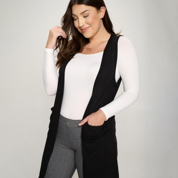 Women's Plus Size Knit Vest Featuring Front Pockets (6 Packs)    • Knee length • Relaxed fit • Open front • Casual wear • Front pockets • Plus Size  • 60% Polyester, 16% Cotton, 4% Spandex   Pack Breakdown: 6pcs/pack. 2XL:2XXL:2XXXL