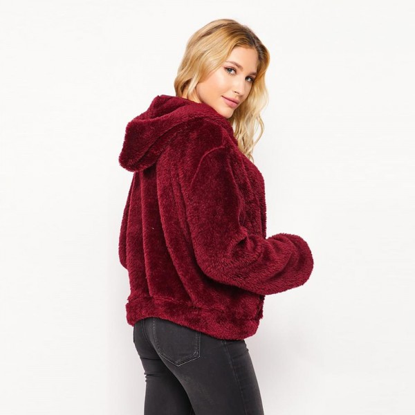 Hooded Sherpa Jacket with Pockets  - 6 pieces per pack - Assorted sizes: 2S - 2M - 2L - 92% Polyester / 8% Spandex - Full Zip Closure