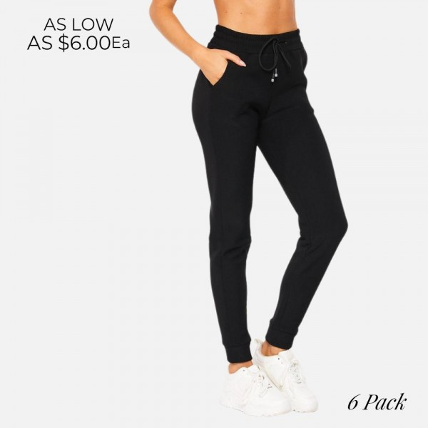 """Women's Jogger Drawstring Lounge Pants (6 Pack)   • Size: 2:S, 2:M, 2:L • Approximately 42"""" in Length • 92% Polyester / 8% Spandex • Drawstring high-rise waistband • Two pockets for keeping your hands warm • Wide leg silhouette • Soft and comfortable fabric with stretch • Comfortable, relaxed fit • Jogger hem • Style with your favorite tee for a laid-back look • Soft and stretchy • Comfortable for lounging at home"""
