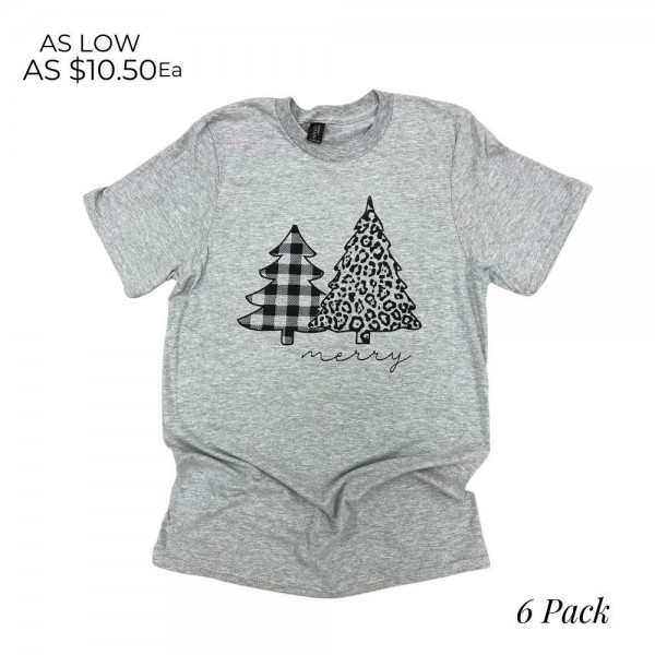 """""""Merry"""" Leopard Print Christmas Tree Graphic Tee.  - Printed on a Gildan Softstyle Brand Tee - Color: Gray - 6 Shirts Per Pack - 1-S / 2-M / 2-L / 1-XL - 65% Polyester / 35% Cotton"""