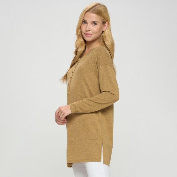 Women's Plus Sized Oversized Tunic With Half Button Detail.   - Soft and comfortable fabric with stretch - Oversized silhouette - Perfect for styling with leggings or skinny jeans -Plus Size   - Pack Breakdown: 6 Shirts Per Pack - Sizes: 2-XL / 2-XXL / 2-XXL - 80% Polyester, 16% Cotton, 4% Spandex