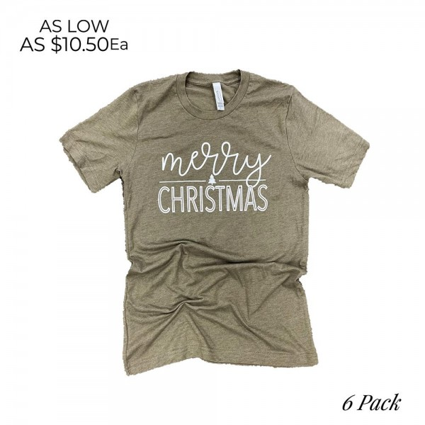 Merry Christmas Graphic Tee. (6 Pack)  - Printed on a Bella Canvas Tee - Pack Breakdown: 6pcs/pack - Sizes: 1-S / 2-M / 2-L / 1-XL - 100% Cotton
