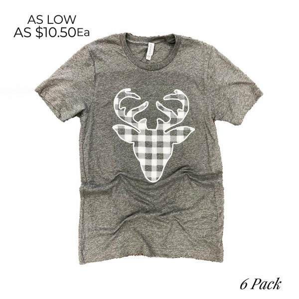 Plaid Reindeer Graphic Tee. (6 Pack)  - Printed on a Bella Canvas Tee - Pack Breakdown: 6pcs/pack - Sizes: 1-S / 2-M / 2-L / 1-XL - 100% Cotton