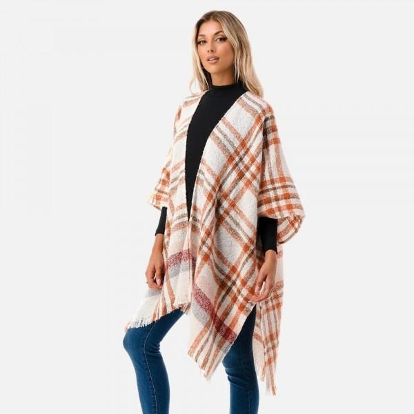 Soft Fuzzy Plaid Pattern Knit Ruana With Frayed Hem  - One Size Fits Most 0-14 - 100% Polyester