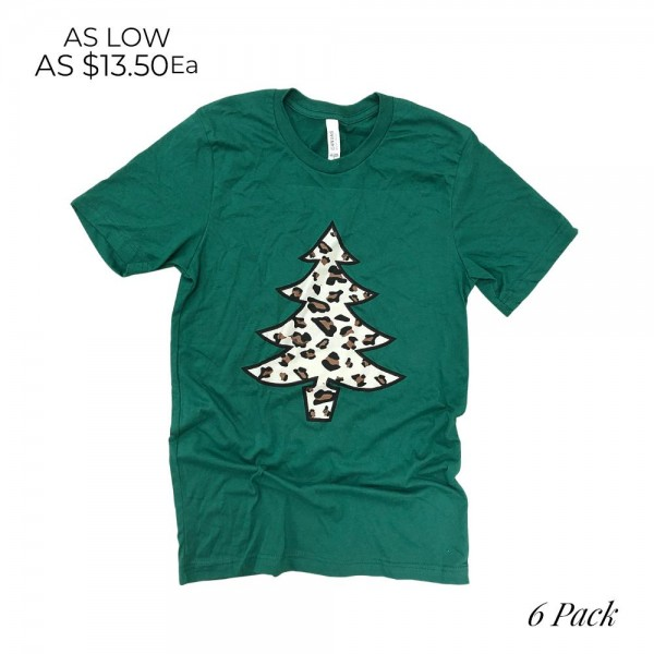 Leopard Christmas Tree Graphic Tee  - Printed on a Bella Canvas Tee - Pack Breakdown: 6pcs/pack - Sizes: 1-S / 2-M / 2-L / 1-XL - 100% Cotton