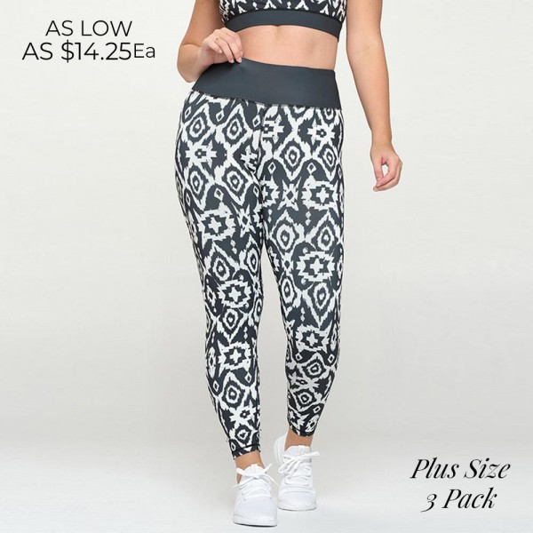 Plus Size Women's Elusive Illusion Activewear Leggings  - High waisted - Moisture wick fabric - Squat Proof - Print all over - Full length - Pull on/off styling - Imported  - 46% Polyester / 41% Nylon / 13% Spandex - Pack Breakdown: 3pcs - Size: XL