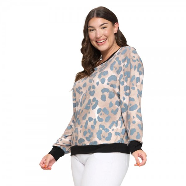 Women's Plus Size Lightwash Leopard Print French Terry Long Sleeve Top  - Long sleeves - Round neckline - Banded cuffs and hem - Printed all over - Relaxed fit - Soft and stretchy - Lightweight French Terry Fabric - Comfortable for lounging at home - Imported  - 62%Polyester / 33%Rayon / 5%Spandex - Pack Breakdown: 6 Tops Per Pack - Sizes: 2-XL / 2-XXL / 2-XXXL
