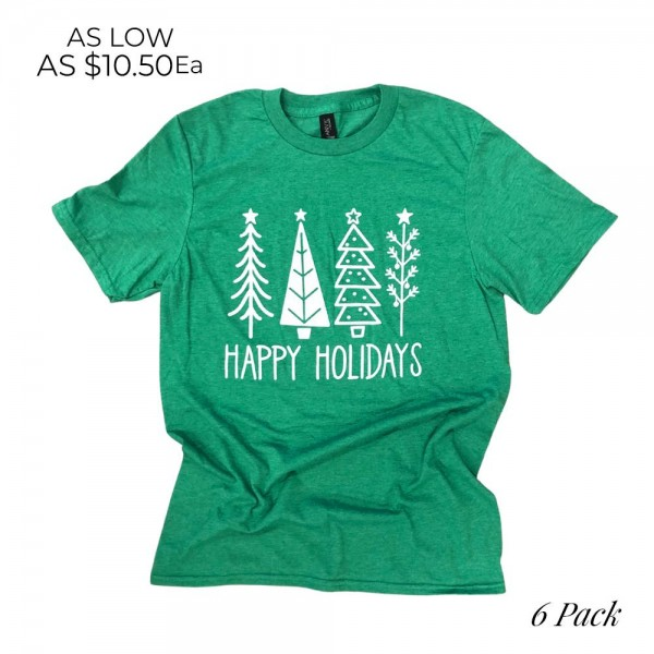 Happy Holidays Christmas Trees Graphic Tee.  - Printed on Anvil Lightweight Brand Tee - Color: Green - 6 Shirts Per Pack - 1-S / 2-M / 2-L / 1-XL - 65% Polyester / 35% Cotton