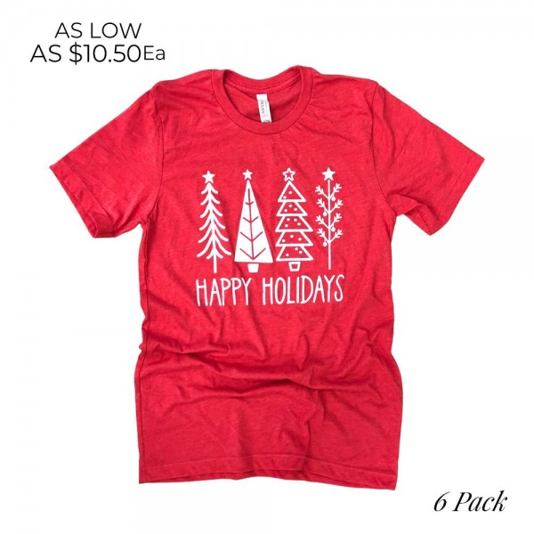 Happy Holidays Christmas Trees Graphic Tee.  - Printed on Canvas Brand Tee - Color: Red - 6 Shirts Per Pack - 1-S / 2-M / 2-L / 1-XL - 52% Cotton / 48% Polyester