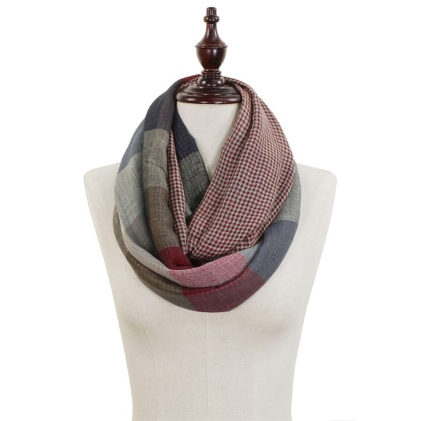"Lightweight Checkered Color-Block Mix Pattern Infinity Scarf.  - Approximately 22"" W x 28"" L  - 50% Polyester / 50% Viscose"