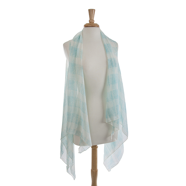 Wholesale blue check print chiffon vest Polyester One fits most