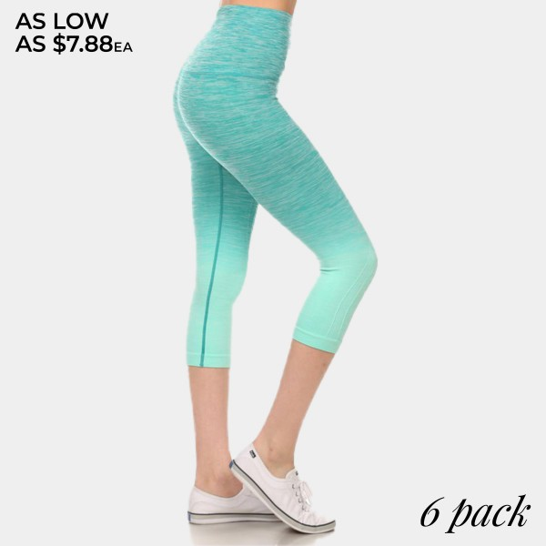 Teal to mint green ombre exercise capri length leggings. Made of 65% nylon, 30% polyester and 5% spandex. Sold in packs of six - two smalls, two mediums, two larges.