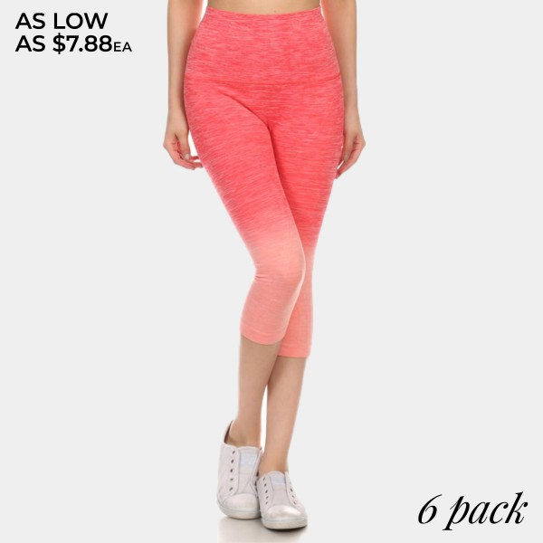 Wholesale coral peach ombre exercise capri leggings Made nylon polyester Spandex