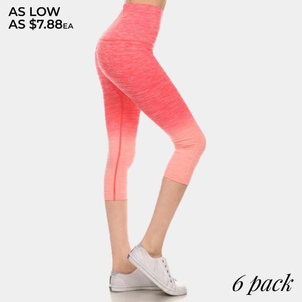Coral to peach ombre exercise capri length leggings. Made of 65% nylon, 30% polyester and 5% Spandex. Sold in packs of six - two smalls, two mediums, two larges.