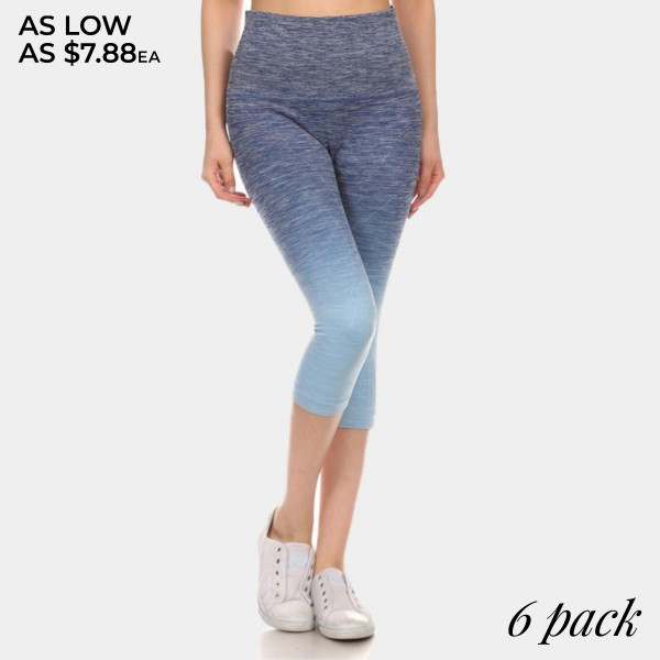Navy to light blue ombre exercise capri length leggings. Made of 65% nylon, 30% polyester and 5% Spandex. Sold in packs of six - two smalls, two mediums, two larges.