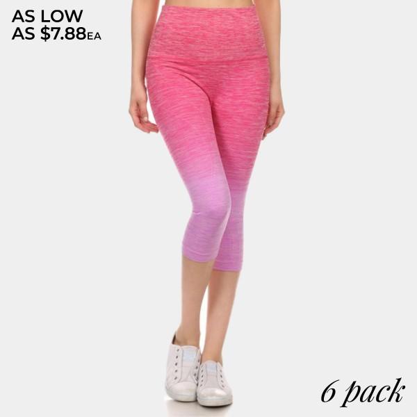 Wholesale magenta lavender ombre exercise capri leggings Made nylon polyester Sp