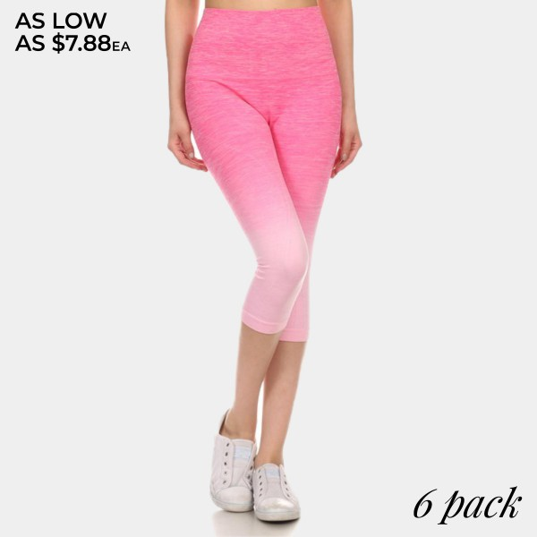 Wholesale hot pink light pink ombre exercise capri leggings Made nylon polyester
