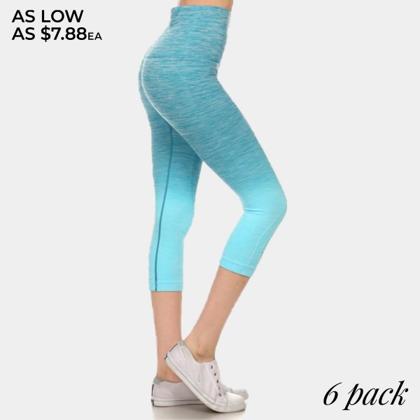 Turquoise to aqua ombre exercise capri length leggings. Made of 65% nylon, 30% polyester and 5% Spandex. Sold in packs of six - two smalls, two mediums, two larges.