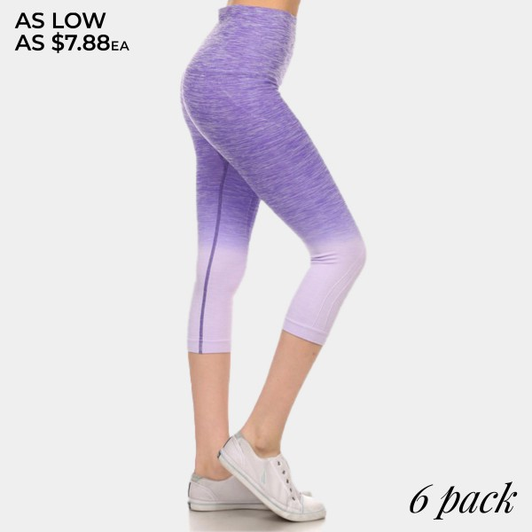 Purple to lavender ombre exercise capri length leggings. Made of 65% nylon, 30% polyester and 5% Spandex. Sold in packs of six - two smalls, two mediums, two larges.