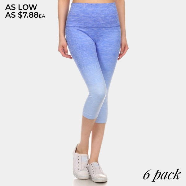 Royal to light blue ombre exercise capri length leggings. Made of 65% nylon, 30% polyester and 5% Spandex. Sold in packs of six - two smalls, two mediums, two larges.