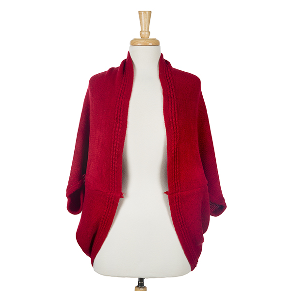 Wholesale solid red cocoon kimono top acrylic One fits most