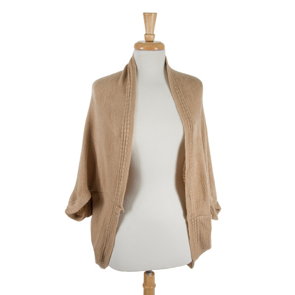 Wholesale solid beige cocoon kimono top acrylic One fits most