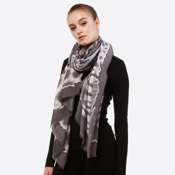 "Lightweight Multi Animal Print Scarf.  - Approximately 36"" W x 72"" L - 100% Viscose"