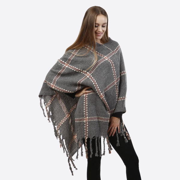 Wholesale gray poncho plaid tassel accents acrylic One fits most