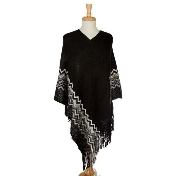 Wholesale knit poncho chevron pattern along bottom metallic detailing acrylic On