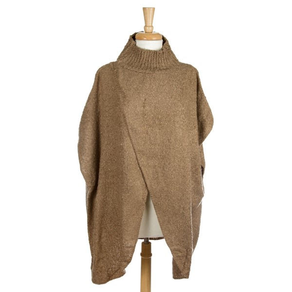 Wholesale mock turtleneck poncho open front acrylic One fits most