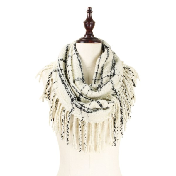 "Two Tone Plaid Infinity Scarf with Fringe Tassels.  - Approximately 13"" W x 33"" L - 100% Acrylic"